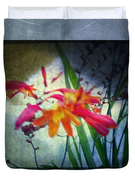 Flowers On Parchment Duvet Cover by Absinthe Art By Michelle LeAnn Scott