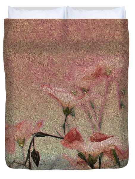 Duvet Cover featuring the digital art Flowers On The Walls by Cathy Anderson