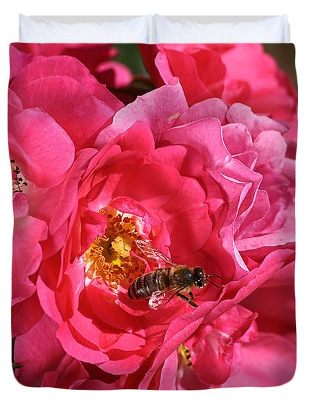 Flowers-roses-pink-bee Duvet Cover by Joy Watson