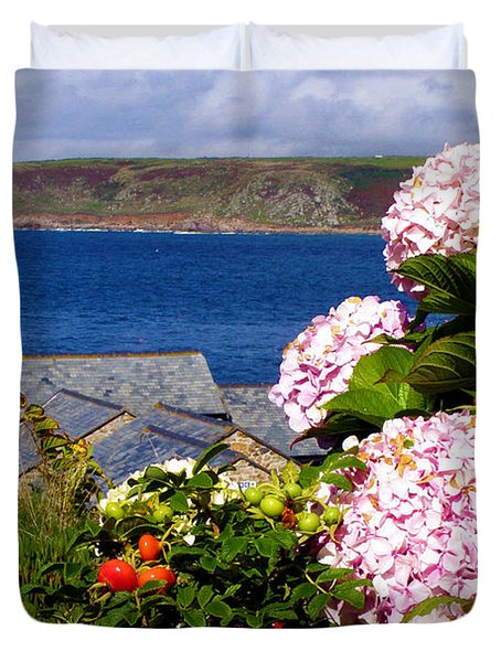 Flowers With A Sea View Duvet Cover by Terri Waters