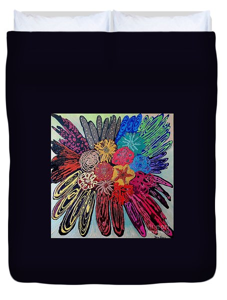 Duvet Cover featuring the painting Flowers Burst By Jasna Gopic by Jasna Gopic