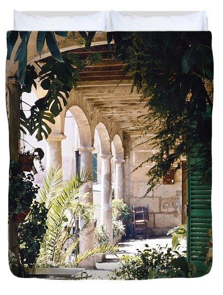 Flowery Majorquin  Patio In Valdemosa Duvet Cover