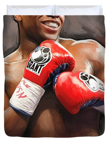 Duvet Cover featuring the painting Floyd Mayweather Artwork by Sheraz A