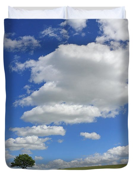 Fluffy Clouds Over Epsom Downs Surrey Duvet Cover