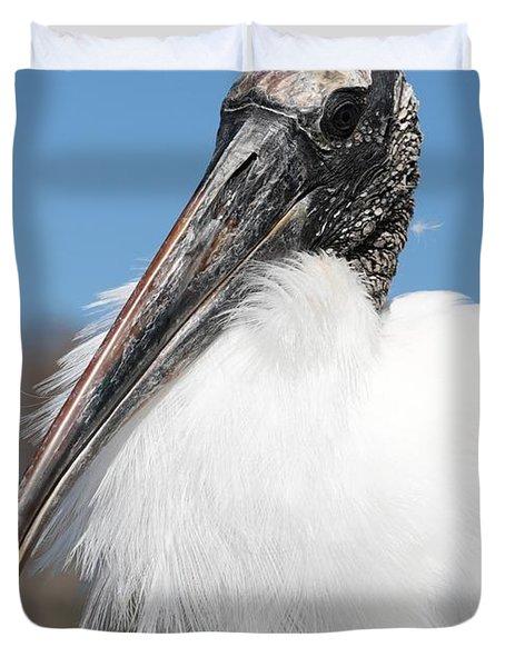 Fluffy Wood Stork Duvet Cover by Carol Groenen