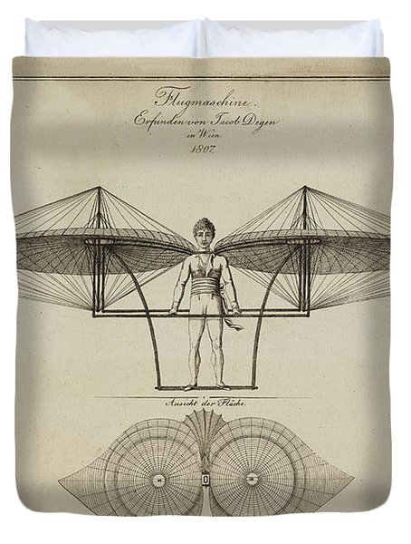 Flugmashine Patent 1807 Duvet Cover by Bill Cannon