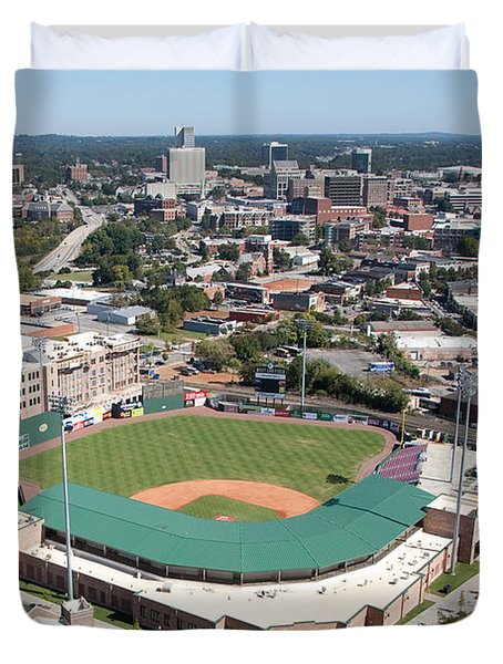 Fluor Field At The West End Greenville Duvet Cover by Bill Cobb