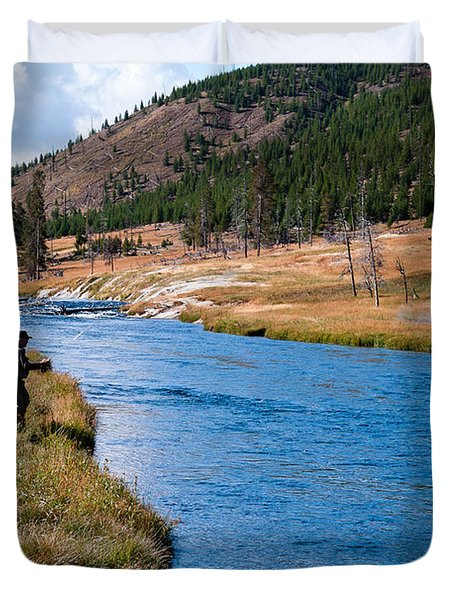 Duvet Cover featuring the photograph Fly Fishing In Yellowstone  by Lars Lentz