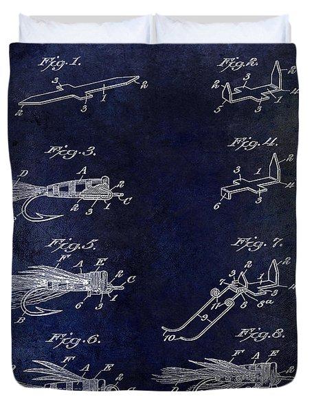 1922 Fly Fishing Lure Blue Duvet Cover by Jon Neidert