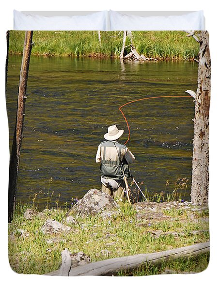 Fly Fishing Duvet Cover by Mary Carol Story