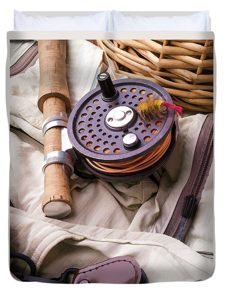 Fly Fishing Still Life Duvet Cover by Edward Fielding
