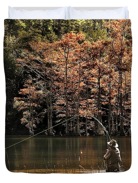 Fly Fishing  Duvet Cover by Tamyra Ayles