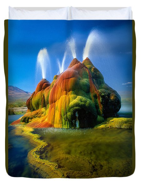 Fly Geyser Travertine Duvet Cover by Inge Johnsson