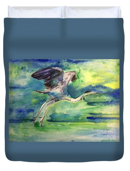 Duvet Cover featuring the mixed media fly by Jieming Wang