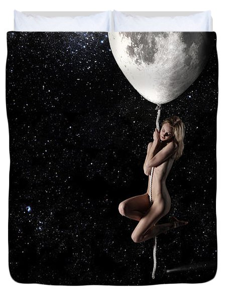 Fly Me To The Moon - Narrow Duvet Cover by Nikki Marie Smith