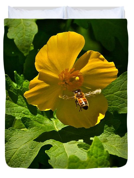 Flying Bee And Wood Poppy Duvet Cover by Byron Varvarigos