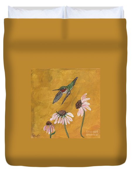 Duvet Cover featuring the painting Flying By by Ella Kaye Dickey