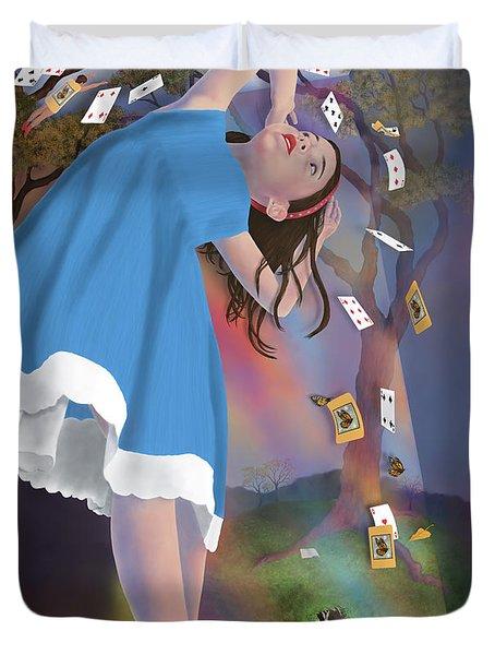 Flying Cards Dissolve Alice's Dream Duvet Cover by Audra D Lemke