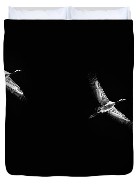 Duvet Cover featuring the photograph Flying Cranes Bw-3 by Leif Sohlman