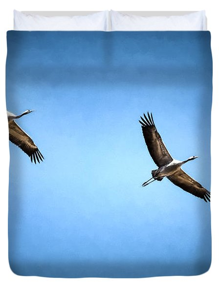 Duvet Cover featuring the photograph Flying Cranes Imp-2 by Leif Sohlman