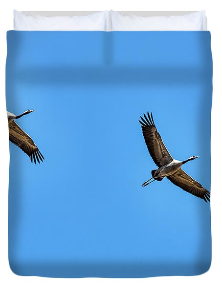 Duvet Cover featuring the photograph Flying Cranes- by Leif Sohlman