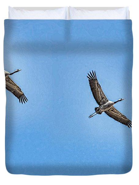 Duvet Cover featuring the photograph Flying Cranes Si- by Leif Sohlman