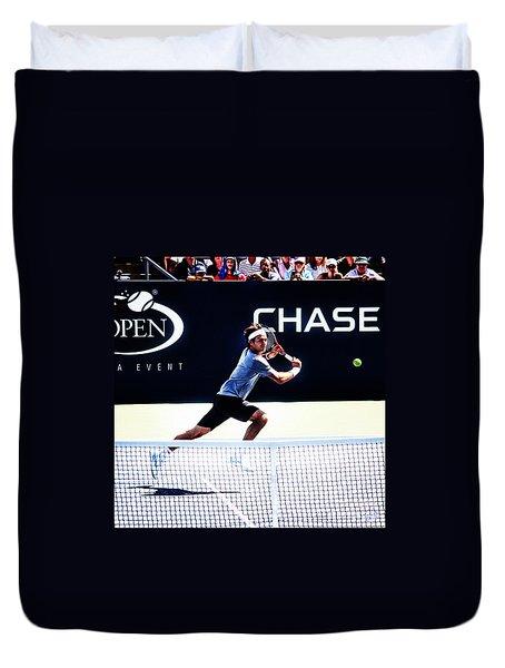 Flying Federer  Duvet Cover by Nishanth Gopinathan