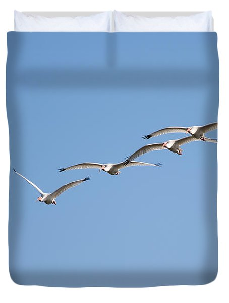 Duvet Cover featuring the photograph Flying Formation by John M Bailey