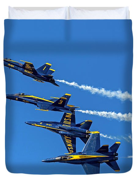 Duvet Cover featuring the photograph Flying Formation by Kate Brown