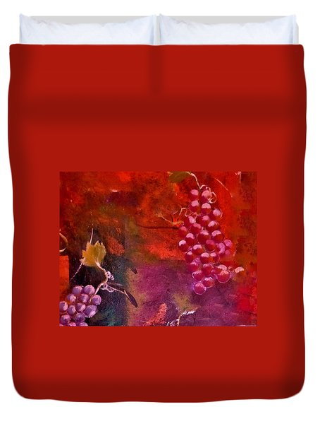 Duvet Cover featuring the painting Flying Grapes by Lisa Kaiser