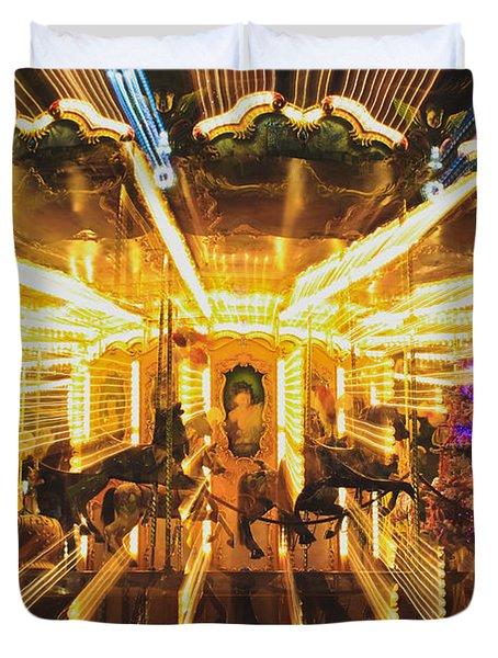 Flying Horses Carousel  Duvet Cover