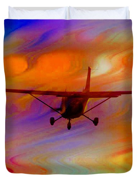 Flying Into A Rainbow Duvet Cover