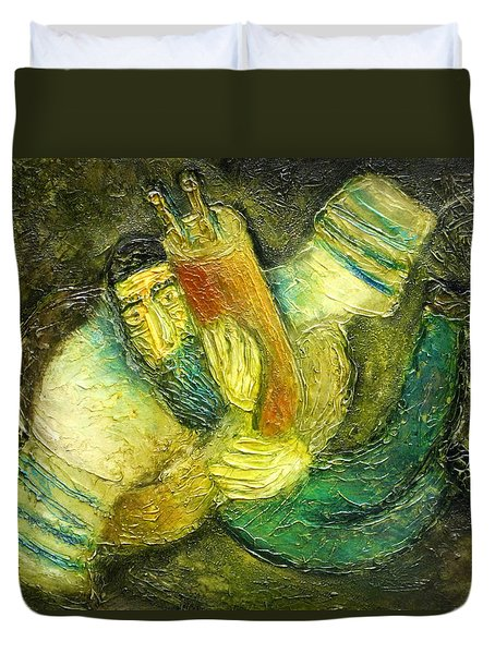 Flying Jew Duvet Cover by Leon Zernitsky