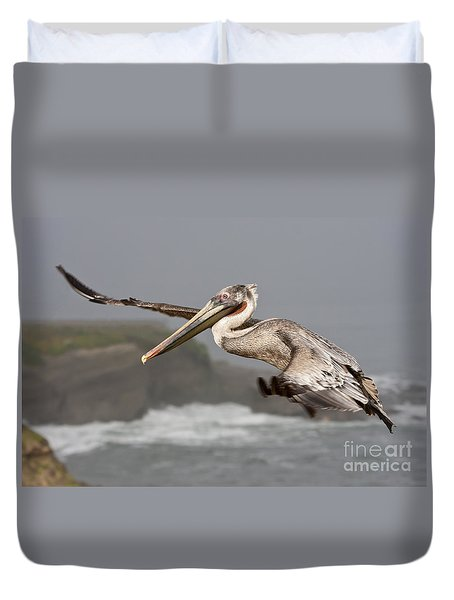 Flying Over La Jolla Duvet Cover by Bryan Keil