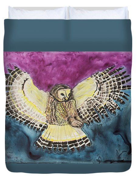 Duvet Cover featuring the painting Flying Owl by Jeanne Fischer