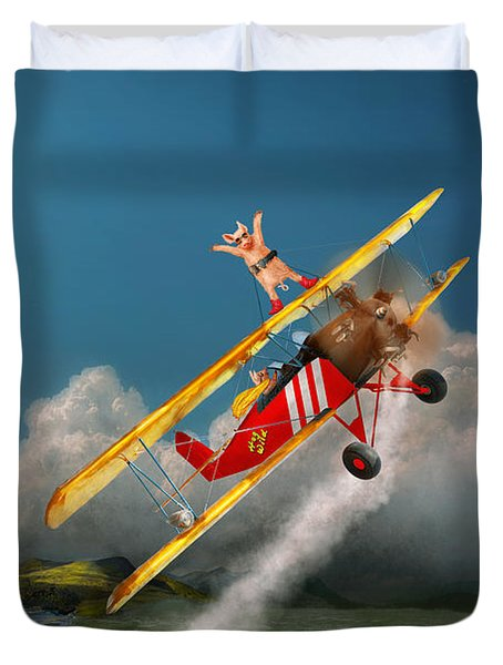 Flying Pigs - Plane - Hog Wild Duvet Cover by Mike Savad