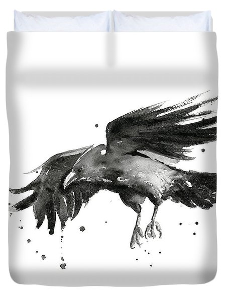 Flying Raven Watercolor Duvet Cover