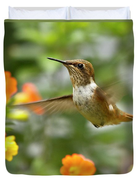 Flying Scintillant Hummingbird Duvet Cover