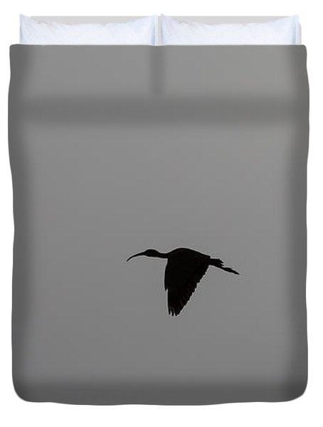 Duvet Cover featuring the photograph Flying Silhouettes by John M Bailey