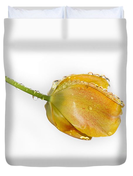 Duvet Cover featuring the photograph Flying Yellow Tulip by Adria Trail
