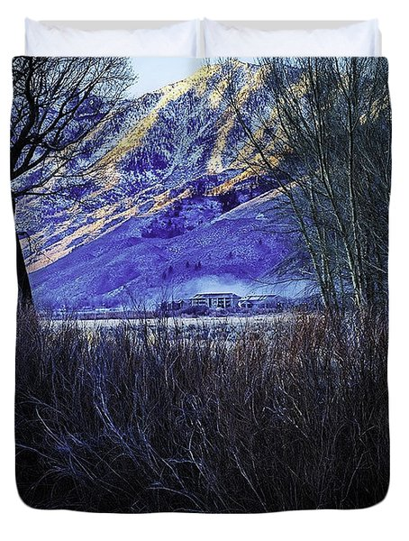 Duvet Cover featuring the photograph Fog And Ice by Nancy Marie Ricketts