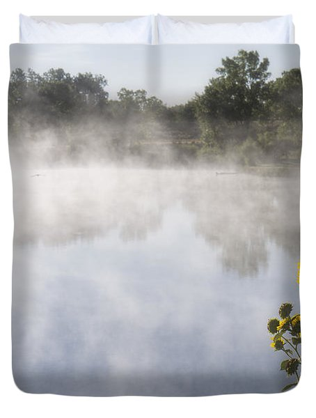 Duvet Cover featuring the photograph Fog And Sunflowers by Rob Graham