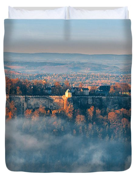 Fog Around The Fortress Koenigstein Duvet Cover