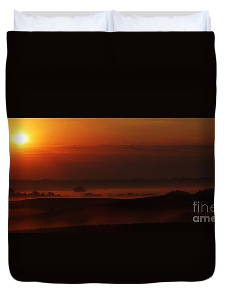 Fog At Sunrise Duvet Cover by J L Zarek