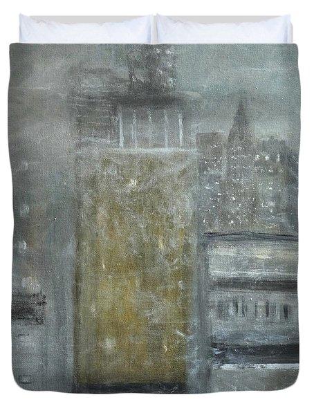 Fog Covered City Duvet Cover