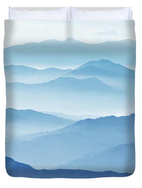 Fog Mountains Nagano Japan Duvet Cover