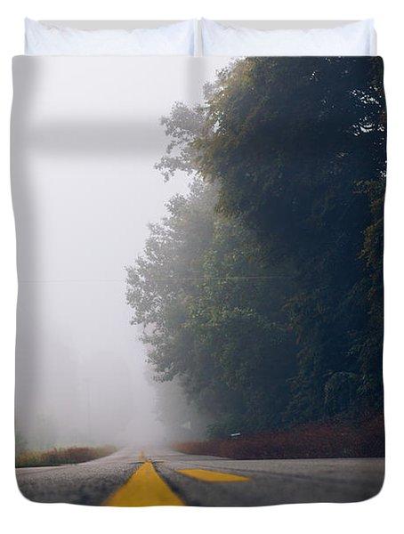 Fog On Highway Duvet Cover