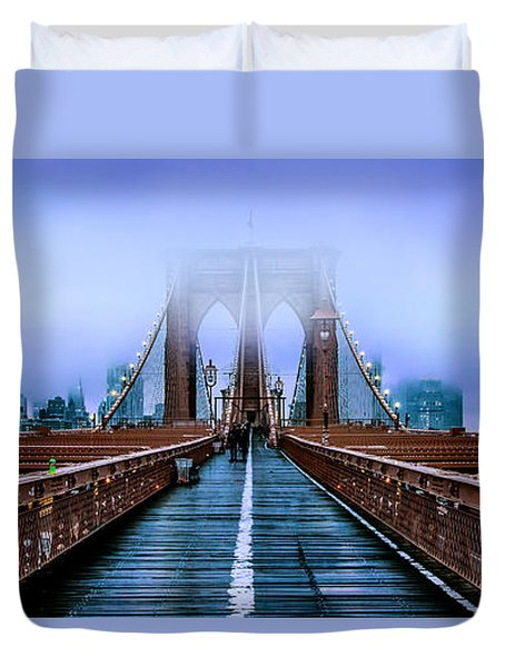 Fog Over The Brooklyn Duvet Cover by Az Jackson