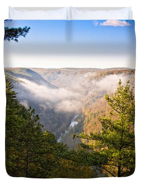 Fog Over The Canyon Duvet Cover