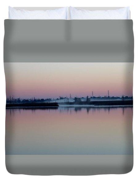 Fog Over The River Duvet Cover by Cynthia Guinn